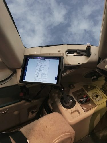 757 iPad mount installation shown in landscape mode